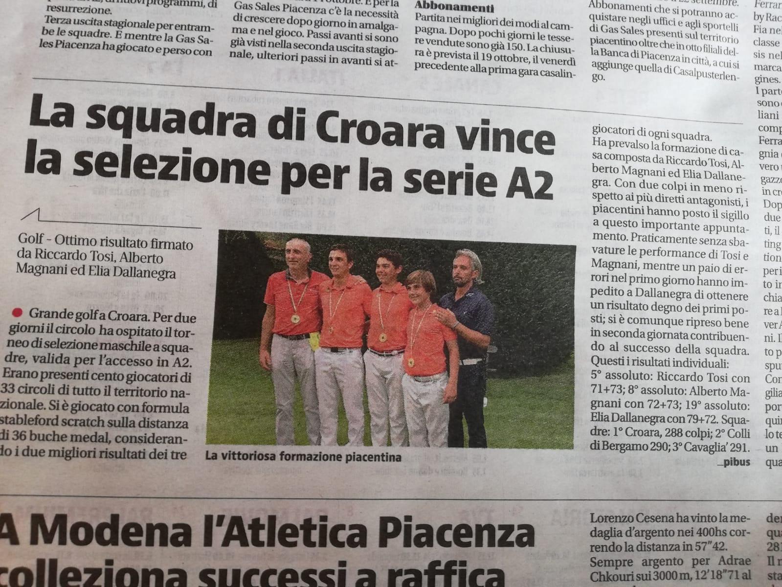 La squadra di golf di Croara vince la selezione per la serie A2